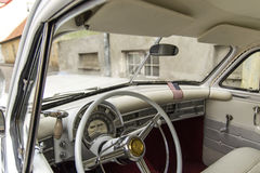 American classic oldtimer interior. Chrysler New Yorker 1950, Tallinn, Old Town, Estonia Royalty Free Stock Image
