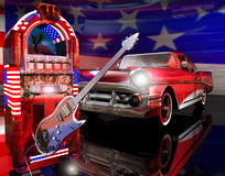 American classic rock. An electric guitar, a jukebox and a chevy, representing the symbols of the classic period of the rock'n'roll Stock Photo