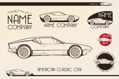 American classic sports car, silhouettes Royalty Free Stock Photo