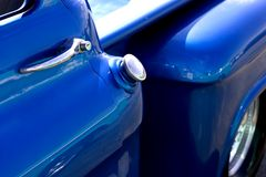 American Classic Truck Car Show. Gas tank and door handle on vintage truck at car show Stock Images