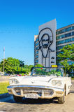 American classic white cabriolet in Havana, Cuba Royalty Free Stock Images