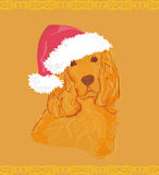 American cocker spaniel laying down wearing santa hat Royalty Free Stock Photos