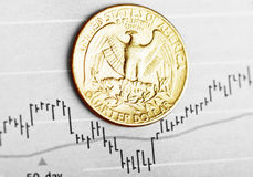 American coin on fluctuating graph. Stock Photography