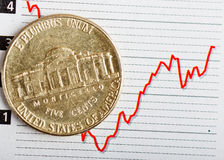 American coin on fluctuating graph. Rate of the dollar (shallow DOF Royalty Free Stock Image