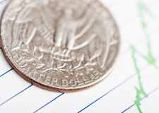 American coin on fluctuating graph. Rate of the dollar (shallow DOF Stock Images