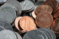 American coins. American quarter and cent coins - macro Royalty Free Stock Images