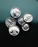American Coins close up. United States coins close up- Quarters, dimes and nickel Royalty Free Stock Image