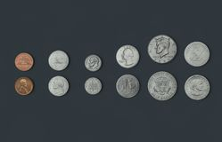 American-Coins. 3D illustration rendering of American Coins Royalty Free Stock Photography