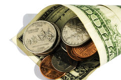The American coins and denominations. The American coins of various cost in one dollar Stock Photos