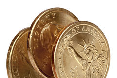 American Coins Over White Royalty Free Stock Image
