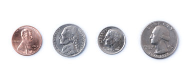 American Coins. Penny, Nickel, Dime, Quarter - American coins