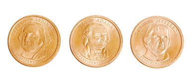 American coins with presidents Royalty Free Stock Photos
