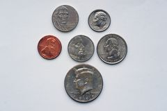 American coins with portraits. American coins with profiles. Portraits of US presidents on coins with a denomination of 1-50 cents