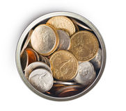 American coins in tin can Stock Image