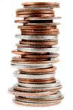 American Coins on white Royalty Free Stock Image