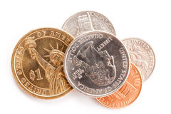 American coins on white background Stock Photos
