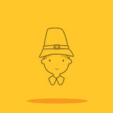 American colonial thanksgiving man cute icon in trendy flat style isolated Royalty Free Stock Image