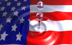 American Colors. Colors of the American flag in the water Royalty Free Stock Photo