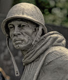 American Combat Soldier, Korean War Veterans Memorial. Within the walled triangle of the Korean War Veterans Memorial in Washington, D.C., there are 19 stainless Stock Image