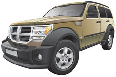American compact SUV. Detail vector image of American sport utility vehicle, isolated on white background. File contains gradients and transparency. No blends Stock Photo
