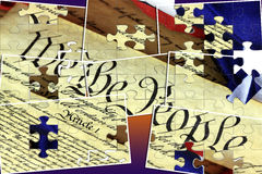 American Constitution and US Flag Royalty Free Stock Photo