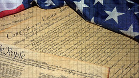 American Constitution and US Flag Stock Image