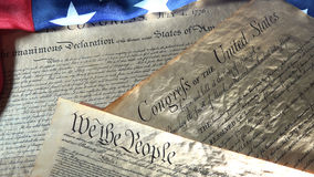 American Constitution and US Flag Stock Photography