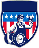 American Construction Worker Beer Keg Crest Retro Royalty Free Stock Photography