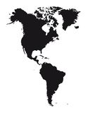 American continent. Silhouette American continent isolated over white background. vector stock illustration