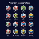 American continent flags. The flag of the American continent in the area of hexagons sparkling royalty free illustration