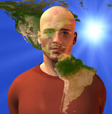 American Continent and man. With light Royalty Free Stock Image