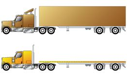 American conventional truck. With trailer Royalty Free Stock Images