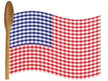 American Cook. Flag made from gingham red, white, blue and wooden spoon staff. Recipe, holiday, cooking - Isolated on White for easy extraction royalty free illustration