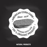 American corn Farm Badge or Label. Vector illustration. American corn Farm Badge or Label on the chalkboard. Vector illustration. Vintage typography design with Royalty Free Stock Images