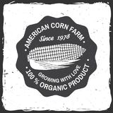 American corn Farm Badge or Label. Vector illustration. Vintage typography design with corn silhouette. Elements on the theme of the corn farming business Royalty Free Stock Images
