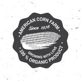 American corn Farm Badge or Label. Vector illustration. Vintage typography design with corn silhouette. Elements on the theme of the corn farming business Royalty Free Stock Photo