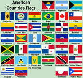 American Countries Flags. Illustrations showing all the North and South America countries flags (Antigua and Barbuda, Argentina, Bahamas, Barbados, Belize stock illustration