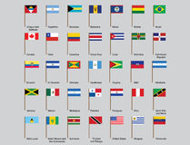 American countries flags. Set of American countries flags vector illustration Stock Photography