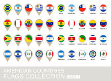 American Countries Flags Collection, Part 1 Royalty Free Stock Photography