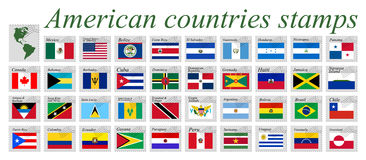 American countries stamps vector. American countries stamps against white background, abstract vector art illustration Royalty Free Stock Photo