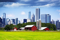 American Country with Big City. In Background Royalty Free Stock Image