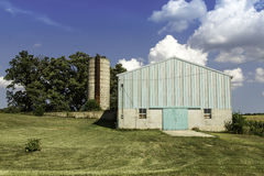 American country farm with silo stock images