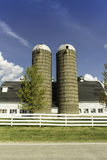 American country farm with silos royalty free stock photography