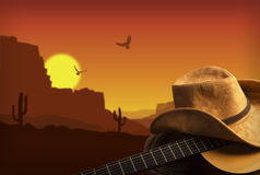 American Country music background with guitar and cowboy hat Royalty Free Stock Photography