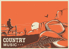 American country music poster with cowboy hat and guitar on land. American country music poster with cowboy hat and guitar on vintage landscape background for Royalty Free Stock Photo