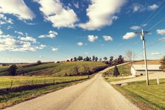 American Country Road in Fall stock photography