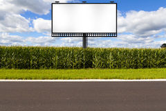 American Country Road. Side View With Billboard Stock Photo