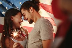 American couple celebrating independence day Stock Photo