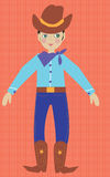 Young American Cow Boy in tradtional costume. Illustration of an american cow boy in hat and boots Fun young graphic childrens illustration. Traditional ethnic Stock Photos
