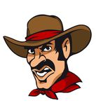 American cowboy. Head in heat isolated on white background. Vector illustration Royalty Free Stock Photos